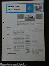 Telefunken Service Manual Phono Service Musikus 108 de Luxe 1968 Schaltplan