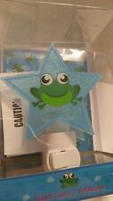 Vintage 2003 Idea Nuova Cute Frog Blue Sparkle Star Nightlight NEW!