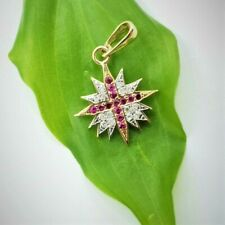 Ruby Cross in Star of Bethlehem Pendant 14 Natural Diamonds 14K Gold Jewelry