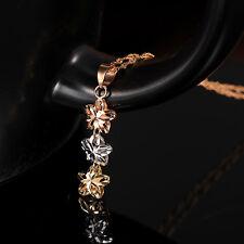 1PCS J.Shou Solid Pure 18K Multi-Tone Gold Pendant Lucky Flower Pendant J.Shou
