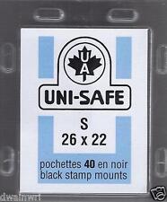 Uni-Safe Prinz Top-Opening S26x22 mm - 40 Black Precut Stamp Mounts German Made