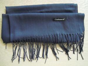 Cashmere Schal NEU blau XXL 71 x 175 cm zzgl. Fransen Stola