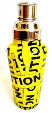 CAUTION Cocktail Martini Shaker Mixer Yellow Glass Stainless Steel Bar Wear NEW