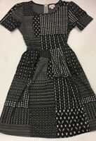 LuLaRoe Black Gray Knit Pleated Jacquard Amelia Dress Flare Pockets Tribal Geo S