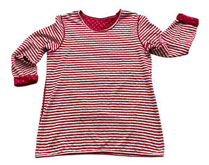Cotton Traders Tshirt Top Pink White UK16 Reversible Stripes Polka Dots Stretch