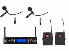 UHF Dual Wireless Lavaier Lapel Microphone System micro cravate