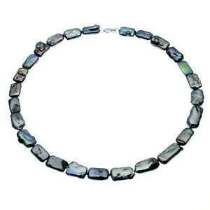 Biwa Pearl Necklace Sterling Silver Black Cultured Freshwater Pearls