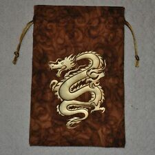 D&D Dungeons & Dragons Asian Chinese gold dragon serpent handmade game dice bag