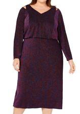 Calvin Klein Womens Sheath Dress Purple Size 14W Plus Shimmer Cutout $199 211