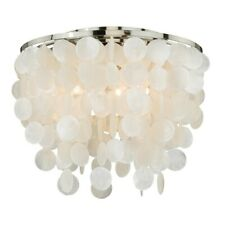 Vaxcel Elsa Capiz Shell 16' Flush Mount, Satin Nickel - C0079
