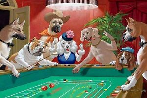 Home Art Wall Dogs Playing Pool Game Oil Painting Picture Printed On Canvas V