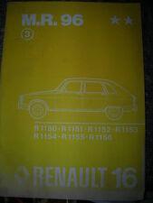 RENAULT 16 - R16 MANUALE RIPARAZIONE MR 96 OCCASIONE ORIGINE RENAULT