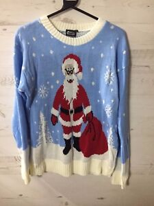 New Xmas Jumper Christmas Party Santa Blue Cream Knitted S/M Tags Novelty Gift