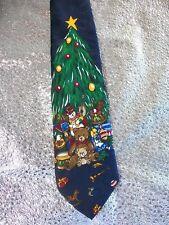 Country CHRISTMAS TREE Tie  Bear Drum Toys Doll NAVY BLUE GREEN  Novelty  EUC