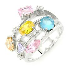 Sterling Silver Cocktail Ring with Multicolored Cubic Zirconia Size 9