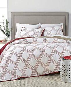 Martha Stewart Bedding Gramercy Gate Reversible 100%Cotton TWIN Quilt Red $220