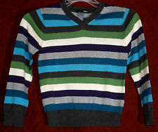 NWOT Boys H&B Blue Green Grey Striped Long Sleeve Pullover Sweater Size 4 - 6 Y