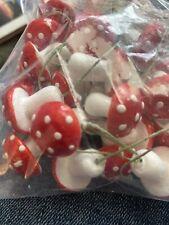New listing Vintage Mushroom Spun Cotton Picks Red & White Polka Dot Bendy Wire Craft 10