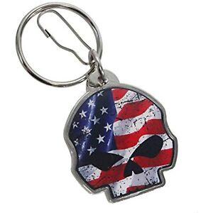 Harley-Davidson Willie G Skull Patriotic American Flag Keychain Red White Blue