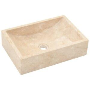 Bathroom Marble Wash Basin Countertop Rectangle Sink Cloakroom Washbasin Cream