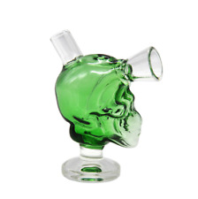 2018 Green Glass Skull Hookah Water Smoking Pipe Bong Bubbler Shisha Beaker