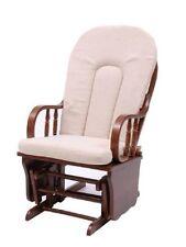 Poltrona sedia dondolo vintage relax legno massello cuscino beige arredo casa