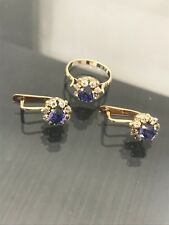 Russian Vintage 14K 583 Rose Gold Classic Style Set Ring Earring МАЛИНКА USSR