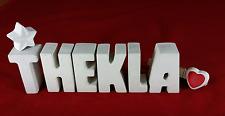 Beton, Steinguss Buchstaben 3D Deko Namen THEKLA als Geschenk verpackt!