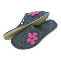 New Womens Ladies Girls Pink Flower Grey Slip on Mule Slippers Size 3 4 5 6 7 8