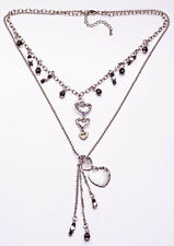 SILVER METAL & BLACK BEAD DOUBLE NECKLACE WITH HEART CHARMS, ADJUSTS 5CM (ZX40)