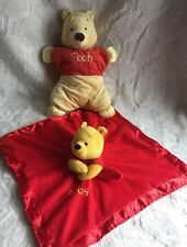 Disney Baby POOH Security Blanket Solid red Satin Edge Rattle + Plush Baby  Pooh