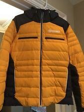 Colmar Men's hooded Down Ski Jacket in Mustard Yellow, Size 50