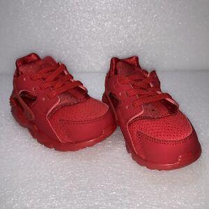 Size 10C Toddler - NIKE HUARACHE RUN (TD) Triple Red 704950 600 New Box No Lid
