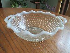 """Vintage Moonstone Hobnail handled opalesence bowl 6 1/2"""" Wedding"""