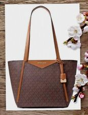 d2c842fd797f4 NWT MICHAEL KORS WHITNEY SM Top Zip Tote In BROWN MK Signature PVC Leather   228