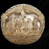 Breathtaking Antique Hand Carved Mother Of Pearl Nativity Plaque 8w X 7.5t X 2d
