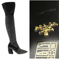sz 39 NEW $1100 PRADA Black STRETCH VELVET Point Toe OVER THE KNEE Tall BOOTS 9