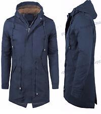 Parka uomo giubbotto cappotto slim invernale pelliccia cappuccio Blu