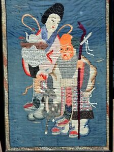 142 x 74 cm Qing Chinese Silk Embroidery Textile Shou Lao Deer Peach Woman
