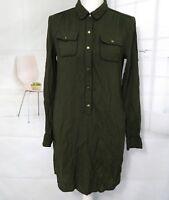Banana Republic Dress Olive Green Button Up shirt Pocket Dress roll tab Sleeve 4