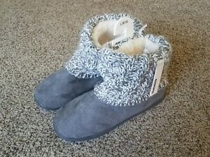 Sonoma Womens Sherpa Bootie Knitted Slippers NEW Size Large 9/10 Grey & White
