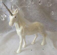 Iridescent Glitter Unicorn Silver Horn Gisela Graham Table Mantel Christmas