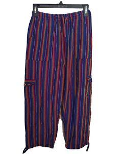 Womens Size L Purple Serape Cropped Casual Pants Rasta Cotton Woven Boho Hippie