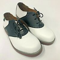 SCHOOL ISSUE Women's 6300 Saddle Oxfords Shoes White Black Leather 9M