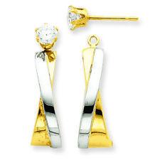 14k Gold J Hoop With CZ Stud Earrings Jackets