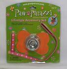 Paw Parazzi Lifestyle Accessory Set Bowl, Orange Bone Mat  Pink Leash New