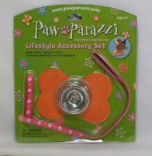 Paw Parazzi Lifestyle Accessory Set Bowl, Orange Bone Mat & Pink Leash *New