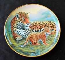 "Vntg Franklin Mint National Wildlife Federation Jaguar & Cubs 8 1/4"" Décor Plate"
