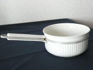 Ancienne CASSEROLE porcelaine à feu Limoges blanche ALUMINITE No 5 bord cannelé
