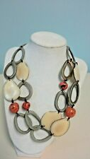 """Double Strand Necklace Orange Beige Gray Disc Beads Ovals about 19"""""""